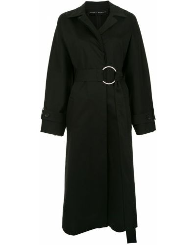 Черное пальто классическое с капюшоном Gloria Coelho