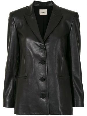 Черный кожаный удлиненный пиджак на пуговицах Khaite