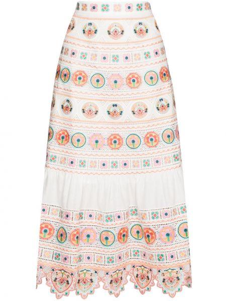 Bawełna biały bawełna spódnica midi z haftem Zimmermann