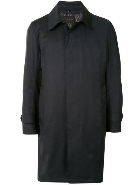 Синее шерстяное длинное пальто с воротником на пуговицах D'urban