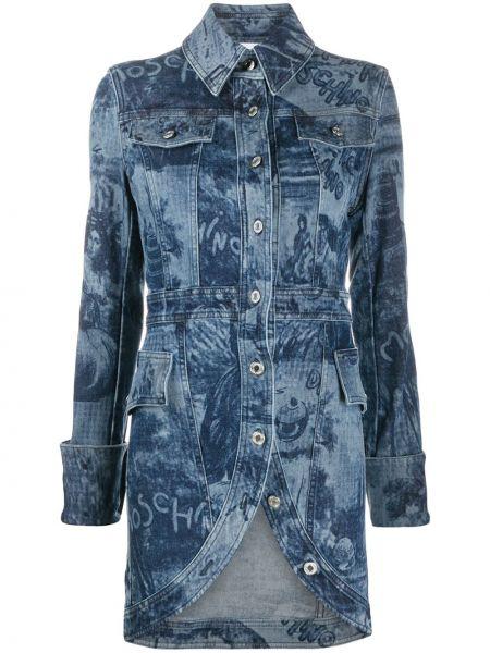 Синее пальто классическое с воротником на пуговицах Moschino