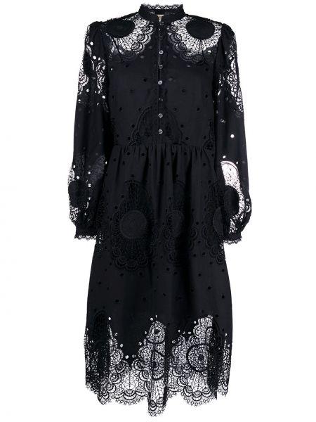 Черное платье на пуговицах со вставками с воротником Temperley London