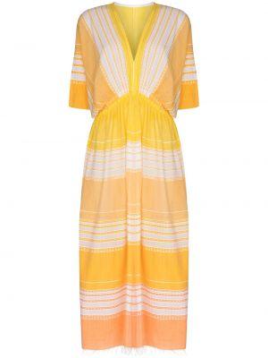 Żółta sukienka w paski bawełniana Lemlem
