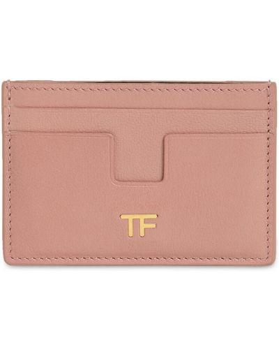 Розовая кожаная визитница Tom Ford