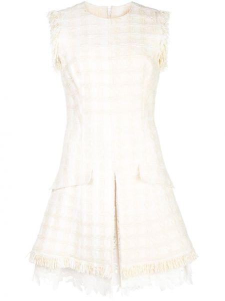Платье на молнии с карманами твидовое без рукавов Oscar De La Renta