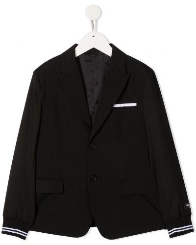 Черный классический пиджак с карманами на пуговицах с манжетами Neil Barrett Kids