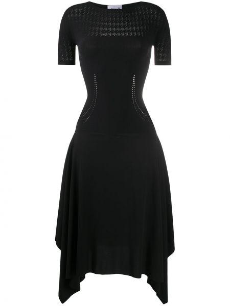 Черное расклешенное платье миди с вышивкой с вырезом Wolford