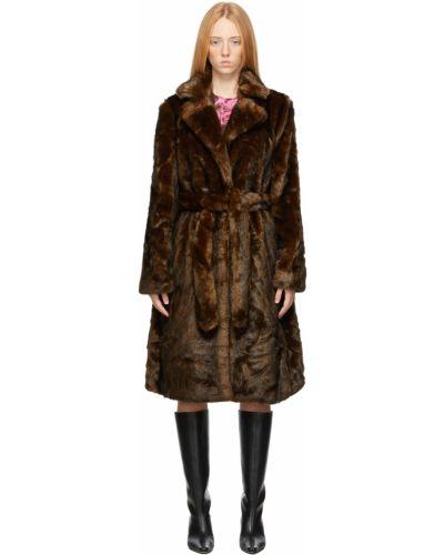 Коричневое длинное пальто Sandy Liang