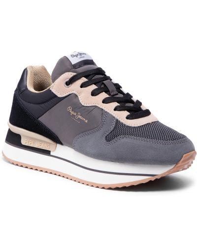 Buty sportowe skorzane - czarne Pepe Jeans