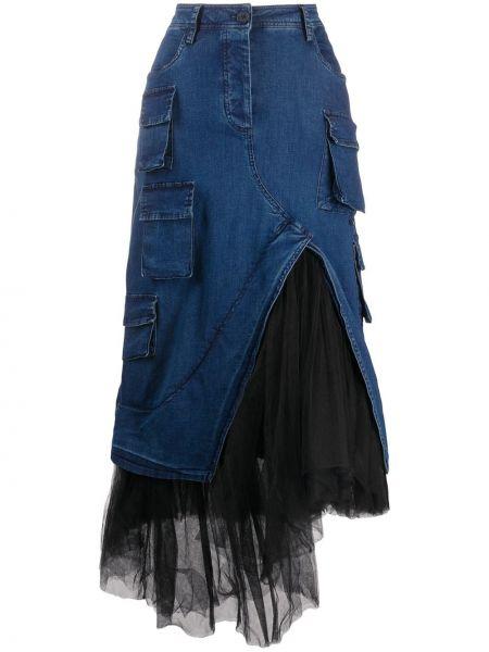 Асимметричная джинсовая юбка на молнии с разрезом из фатина Rundholz
