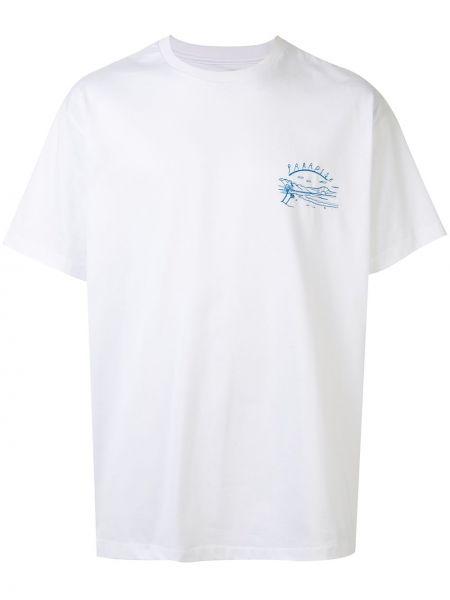 Koszula krótkie z krótkim rękawem prosto z haftem Wooyoungmi