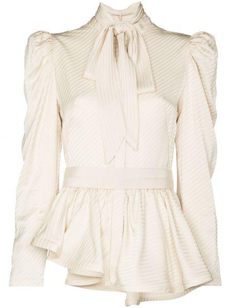 Бежевая асимметричная блузка с длинным рукавом на пуговицах из вискозы Silvia Tcherassi