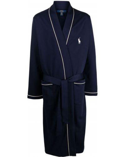 Niebieski długi szlafrok bawełniany z długimi rękawami Polo Ralph Lauren