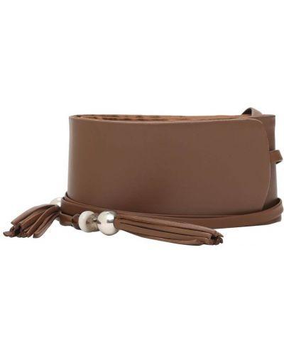 Коричневый кожаный ремень с завязками Max Mara