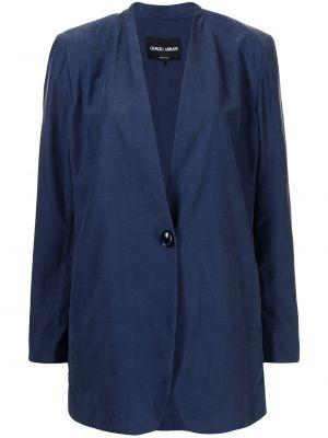 Однобортный синий удлиненный пиджак на пуговицах Giorgio Armani