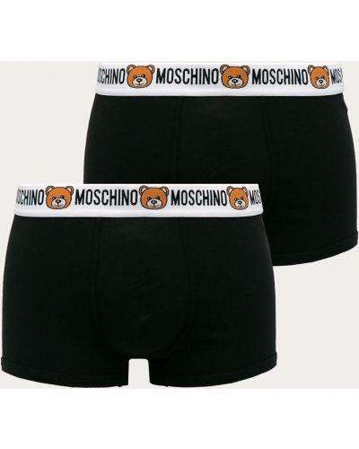 Czarne majtki bawełniane z printem Moschino Underwear