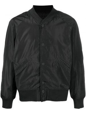 Czarna długa kurtka z haftem z nylonu Ktz