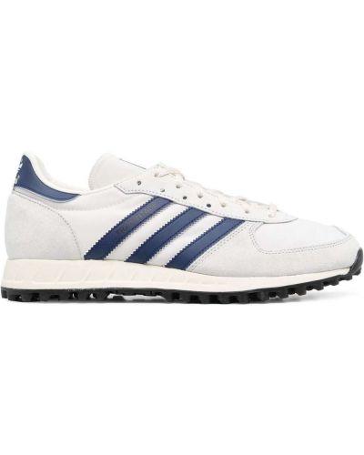 Кожаные белые кроссовки на шнурках Adidas