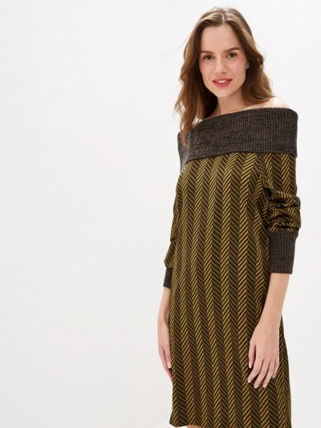 Платье с открытыми плечами осеннее Sisley