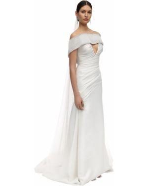 Biała sukienka długa tiulowa Sandra Mansour