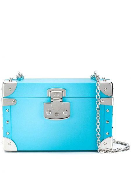 Niebieska klasyczna torebka crossbody skórzana Luis Negri