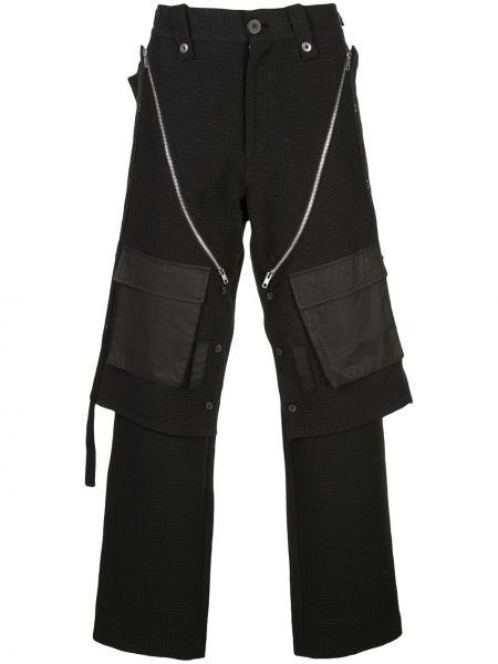 Czarne spodnie bawełniane z paskiem Blackmerle