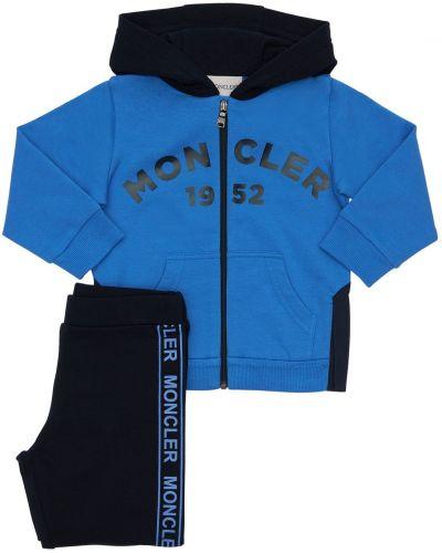 Niebieski bawełna bluza na gumce z mankietami Moncler