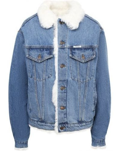 Джинсовая куртка из овчины - синяя Forte Dei Marmi Couture
