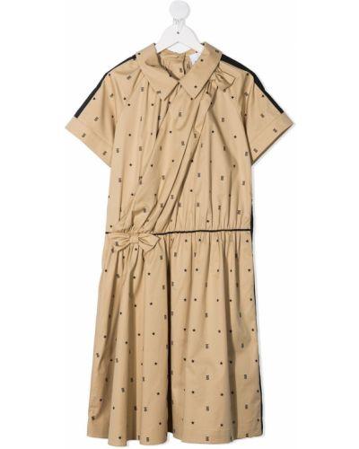 Коричневое платье с запахом с воротником Burberry Kids