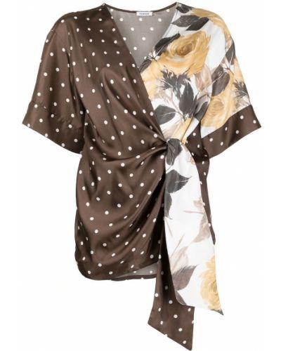Шелковая блузка в горошек с короткими рукавами P.a.r.o.s.h.