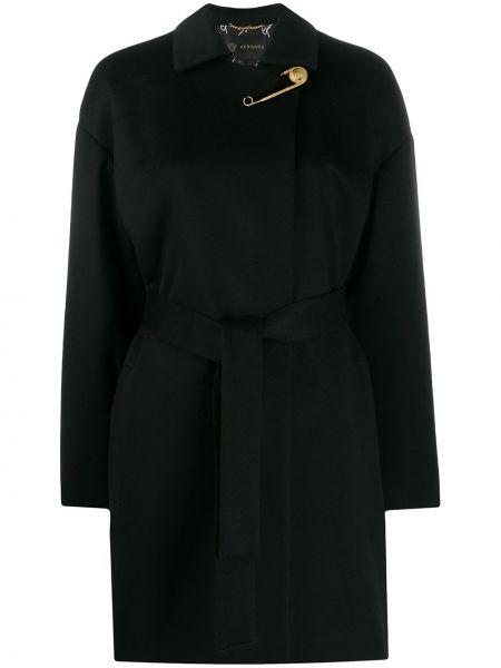 Черное кашемировое пальто классическое с капюшоном Versace