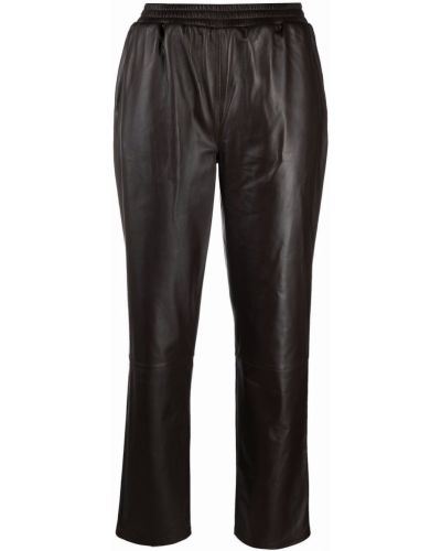 Коричневые кожаные брюки Arma