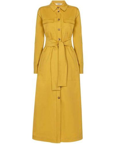 Хлопковое желтое платье миди стрейч 's Max Mara