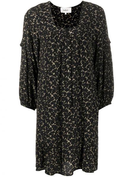 Черное с рукавами платье из вискозы квадратное Ba&sh