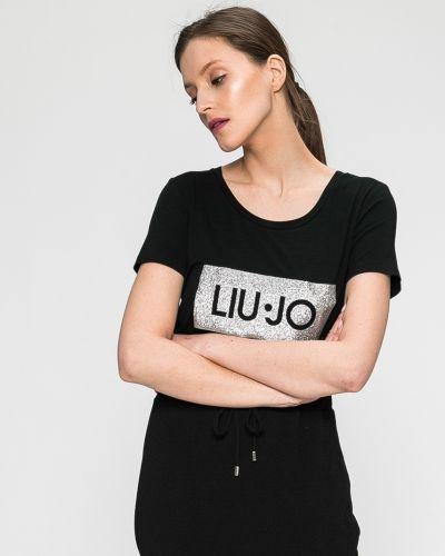 Черная футболка прямая Liu Jo