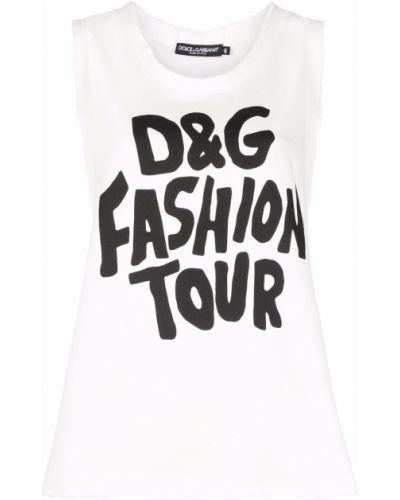 Белый хлопковый топ Dolce & Gabbana