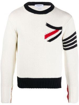 Biały pulower z długimi rękawami bawełniany Thom Browne