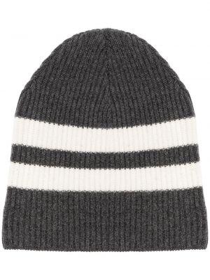 Серая кашемировая вязаная шапка бини в рубчик Cashmere In Love