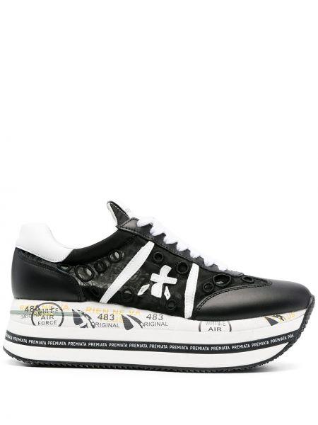 Кожаные черные кроссовки на платформе Premiata