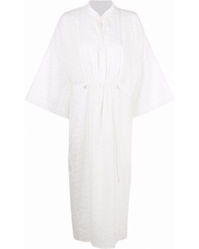 Расклешенное белое платье миди с поясом Lala Berlin