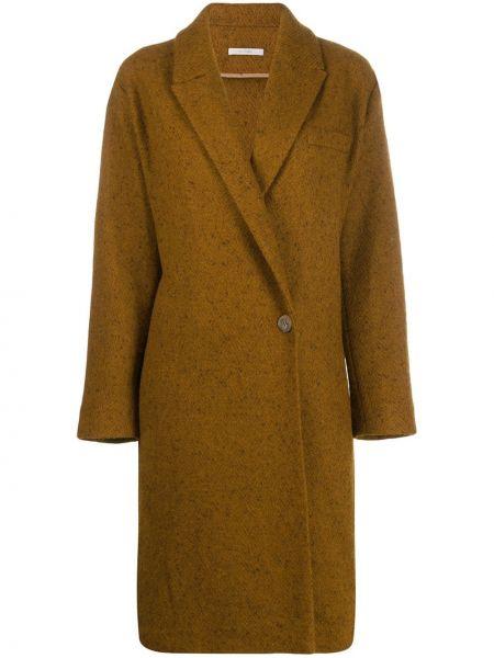 Brązowy płaszcz wełniany kopertowy Dusan