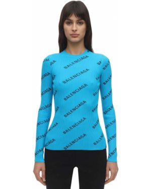 Sweter ażurowy z nadrukiem Balenciaga