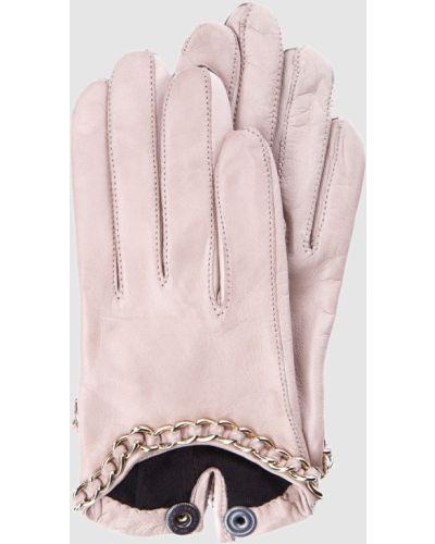 Розовые кожаные перчатки Maison Fabre