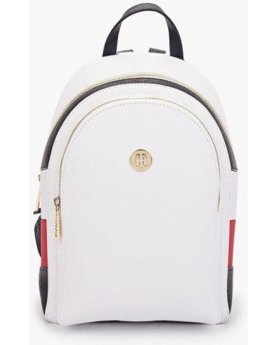 Белый городской кожаный рюкзак Tommy Hilfiger