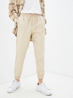 Бежевые кожаные брюки Softy