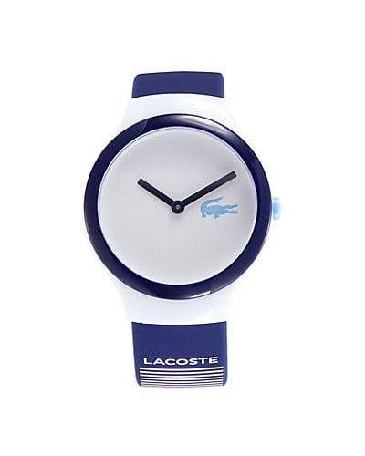 Biały zegarek kwarcowy srebrny w paski Lacoste