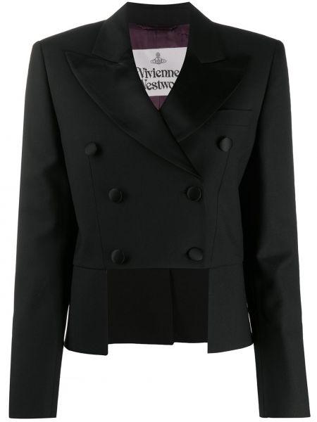 Черный удлиненный пиджак двубортный с карманами Vivienne Westwood