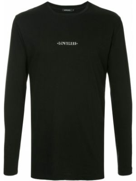 Хлопковая черная футболка с круглым вырезом с длинными рукавами Loveless