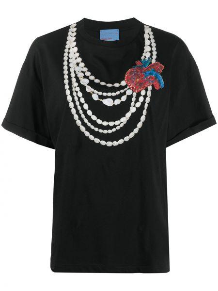Хлопковая прямая черная футболка с круглым вырезом Stella Jean