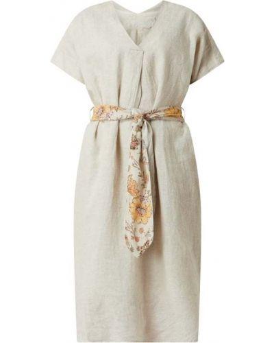 Beżowa sukienka midi rozkloszowana z dekoltem w serek Frogbox